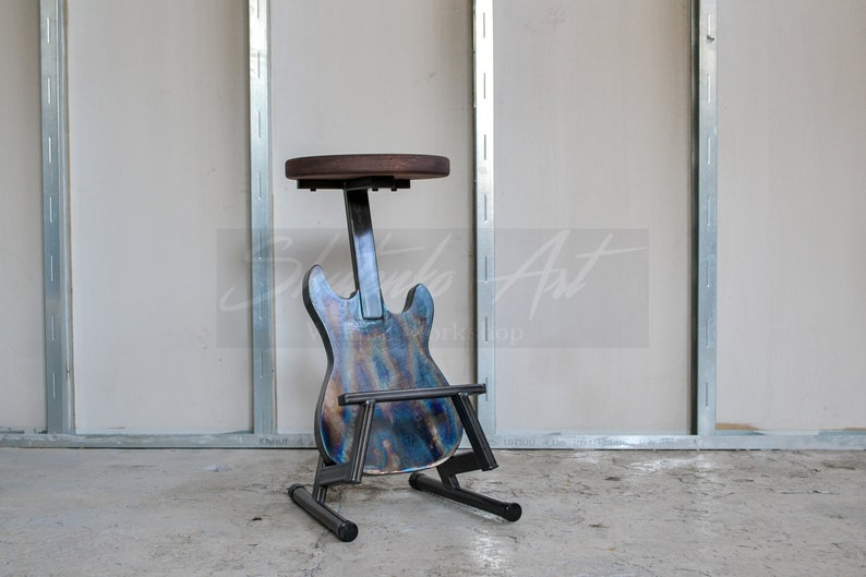 Bar stool Design stool Pub stools Guitar decor Music image 1