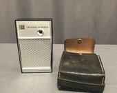 Eight Transistors Continental AM FM Portable Pocket Handheld Radio Silver and Case