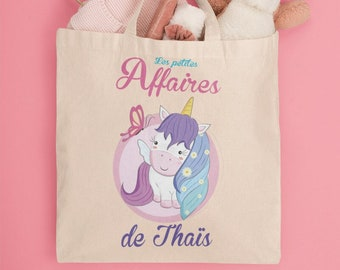 Customizable Tote Bag child unicorn - personalized first name