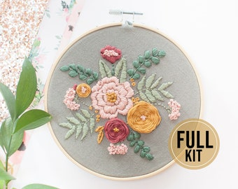 Needlepoint Kit for Beginners / Hand Embroidery Kit for Beginners / Gray Flowers Embroidery Kit / Crewel Embroidery kit /