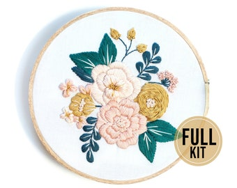 Embroidery Kit Beginner, Flowers Embroidery kit, Hand Embroidery kit, Modern Embroidery, Hoop Art Embroidery Kit, Embroidery Kit Designs