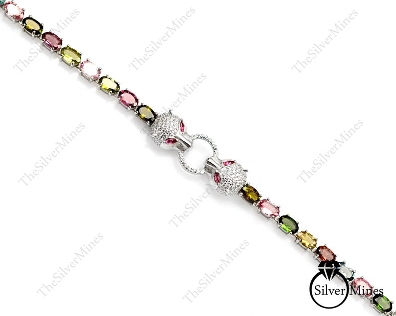 Unisex Bracelet Natural Gemstone Tourmaline Tennis Bracelet 925 Sterling Silver Panther Face Bracelet Adjustable Chain Christmas Gifts