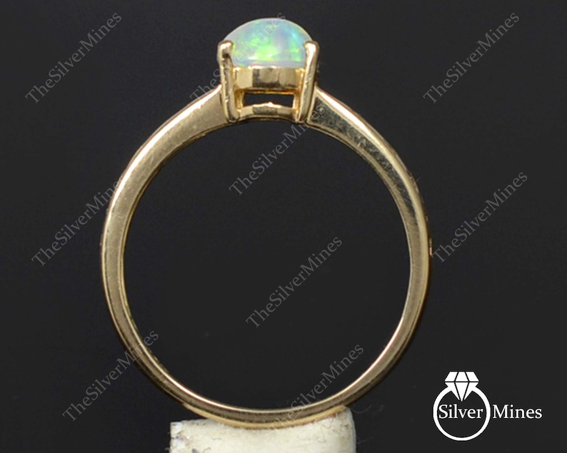 Gemstone Gold Ring Opal Gold Jewelry Handmade Ring 14K Solid Gold Ring Promise Ring Natural Ethiopian Fire Opal Ring Bridal Gold Ring