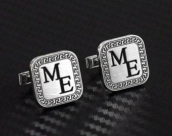 College Jewelry Sigma Phi Epsilon Symbol Stainless Steel Rectangle Cufflinks