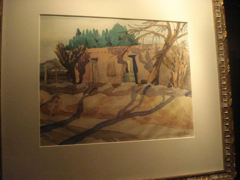 Taos Adobe New Mexico Watercolor Painting Taos Americana American Western Art Vintage Pauline Eaton