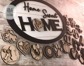 Home Sweet Home SVG digital file Layered Shiplap Laser Cut Wood Door Hanger Oval Sign SVG File Welcome Wall interchangeable rustic farmhouse