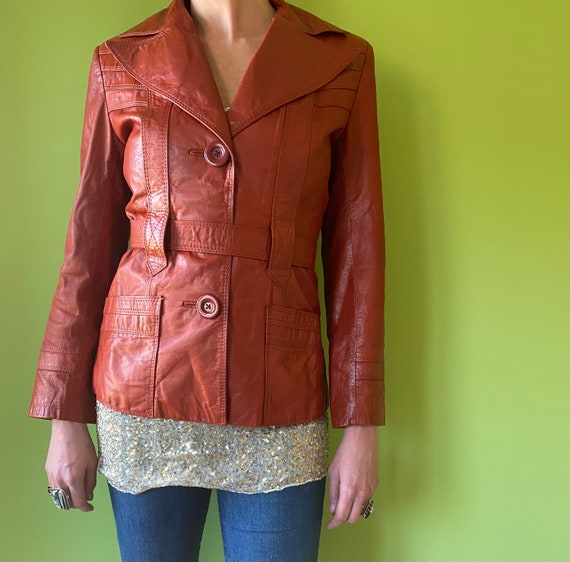 1970's Brown Leather Jacket with  Butterfly Collar