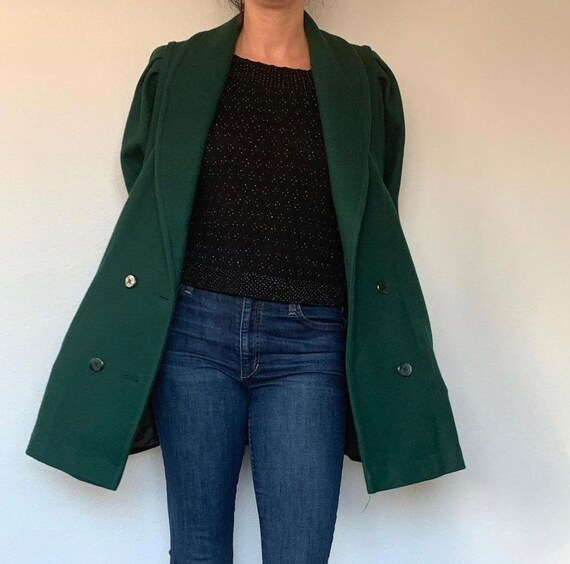 Vintage Green Wool Coat with Huge Pockets and Puff