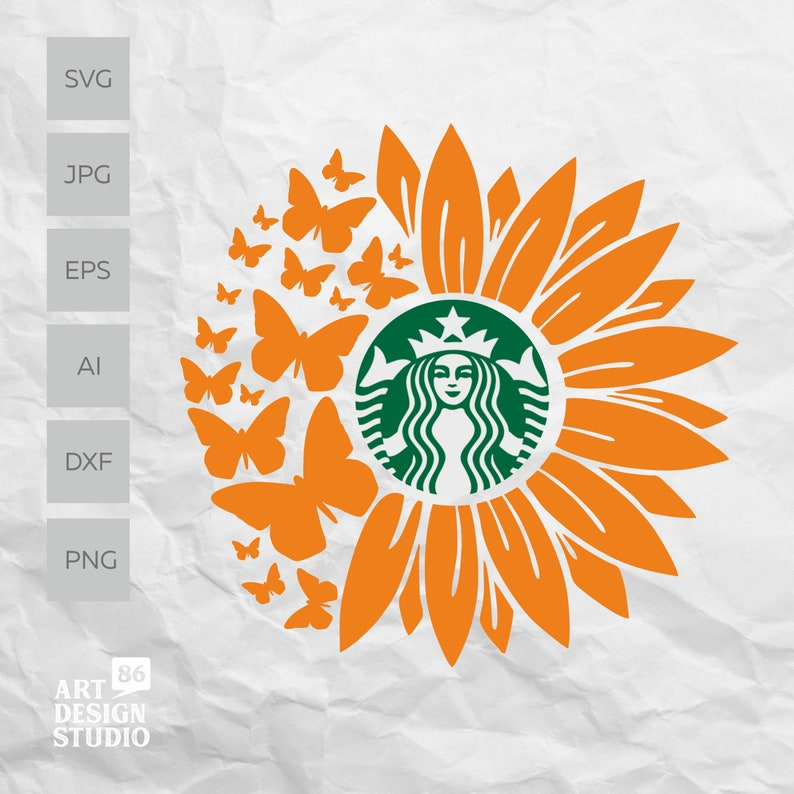 Download Sunflower Butterfly SVG for DIY Projects Starbucks Cup ...