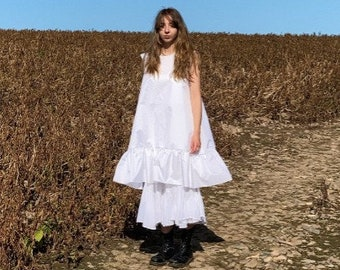 PRAIRIE SKIRT - Long cotton gathered skirt / below the knee / volume and drape