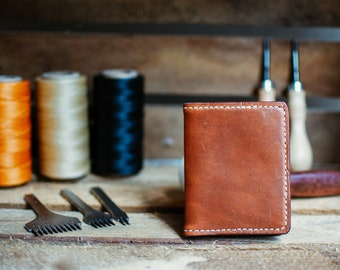 Card Wallet, Small Leather Wallet, Slim Leather Wallet, Folded Wallet, Slim Card Holder, Minimalist Wallet, Simple Wallet