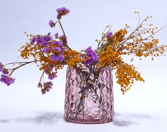 Pink  honeycomb glass vase