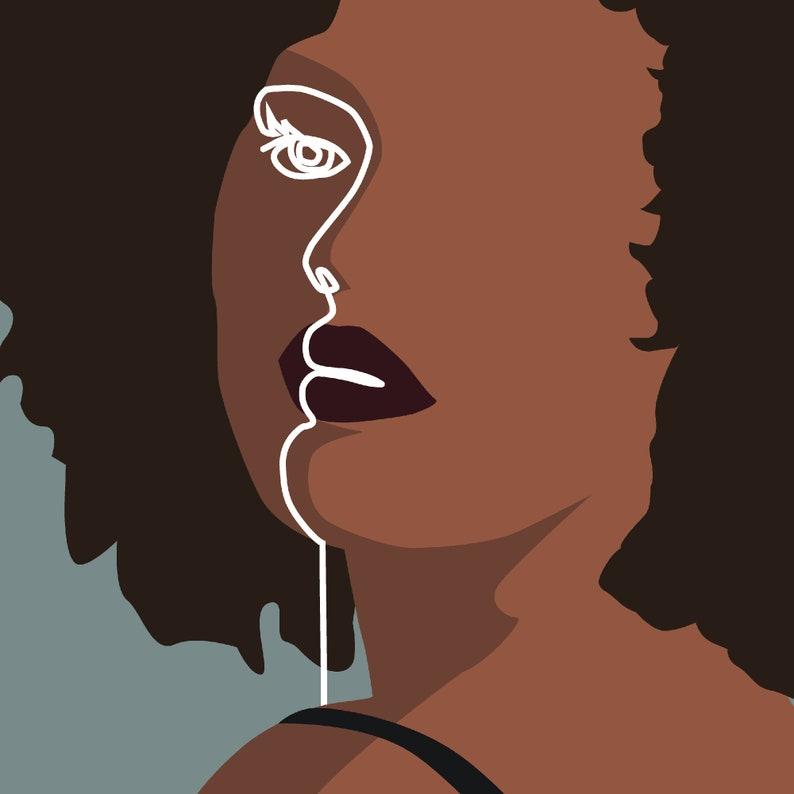 gift for feminist feminist printable black art woman line art minimalist wall art Set of 3 African American Women art prints
