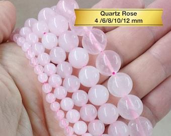 10 perles semi précieuses gemmes QUARTZ 8mm ROSE ////28