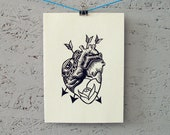 "Handmade linoleum print card with envelope | approx. 5"" x 7"" 