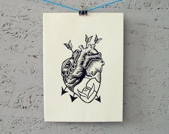 "Handmade linoleum print card with envelope | approx. 5"" x 7"" | heart, eye, rose | linocut"
