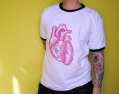 Anatomical heart handprinted on white ringer t-shirt, design: anatomical heart & logo, linocut and screen printing, printed on both sides.
