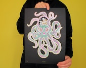 "Handmade screen print ""Kraken"" 