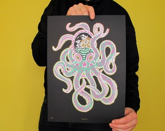 "Handmade screen print ""Kraken"" | ca. 24 x 34,5 cm | limited edition | octopus | sinking ship | black paper | silver ink"