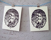 Handmade linocut card with envelope | approx. 10.5 cm x 14 cm | ship, sea, maritime, sea, tattoo | linoleum print