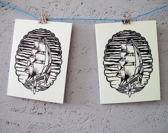 Handmade linocut card with envelope | approx. 10.5 cm x 14 cm | ship, sea, maritime, sea, tattoo | linoleum print