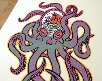 "Handmade screen print ""Kraken"" | ca. 28 x 38 cm | limited edition | octopus | sinking ship"