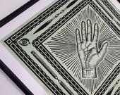 "Handmade linocut print ""The Hand"" | ca. 43 x 43 cm"