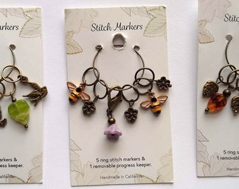 Beaded Ring Stitch Markers, Handmade in California, 5 beaded ring st markers, 1 locking st marker, knitting stitch markers