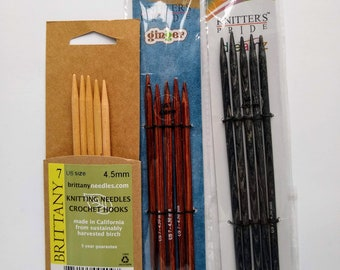 Wooden Knitting Needles size US 7, 8, 9 (4.5, 5.0, 5.5mm), circular, double point (dpn), straights (single point), Knitter's Pride, Brittany
