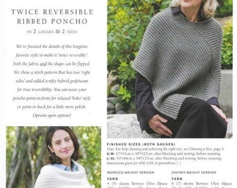 Twice Reversible Ribbed Poncho, Churchmouse Classics, knitting pattern, worsted weight yarn, chunky weight yarn, ribbed texture