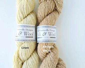 Silk & Wool yarn, Harrisville Designs, 30silk/70wool, knitting, DK weight, sport weight,