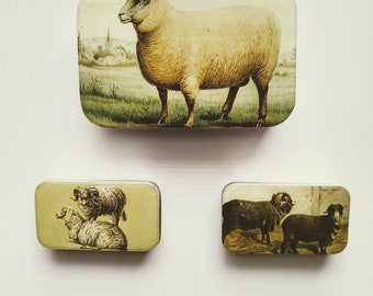 Sheep knit notions tins, large tin with notions assortment, small tins with ring or locking stitch markers, handmade resin top