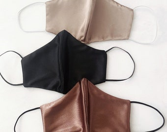 Silky Smooth soft chic face mask - Reusable, Washable, Fashion Fitted Contour, Black, Tan, Taupe, Brown, Chocolate Face Mask - Made in USA