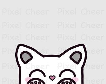 DIY Projects Digital Image PNG Jpg Download Adorable Peeking Cat Kitty PDF Printable Crafting