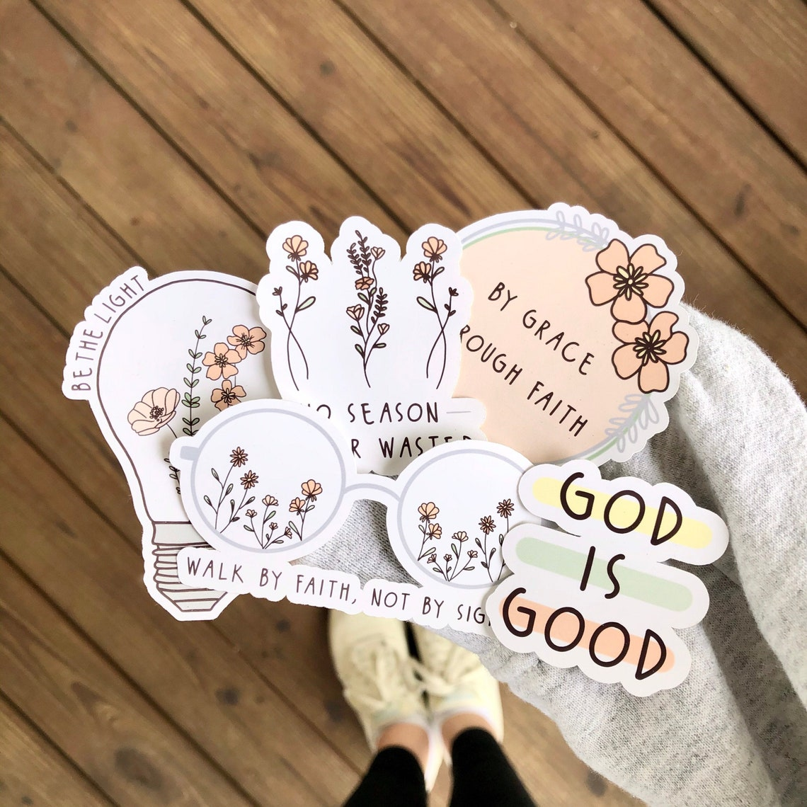 Bible Verse Inspired Dainty Peach Blossoms Floral Sticker Pack image 0