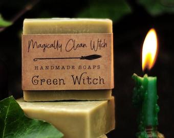 Green Witch - Tea tree oil & Eucalyptus. Handmade Vegan Spirulina Daily Soap. Palm Free!
