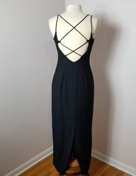 vintage black spaghetti strap evening dress by eminance vintage 90s black party dress size small