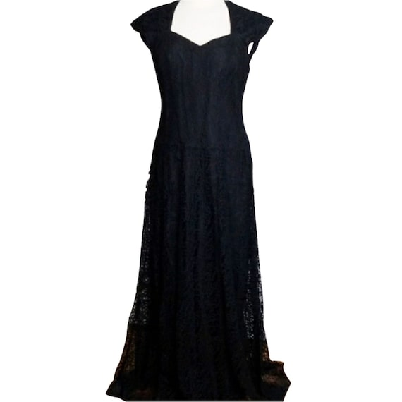 Vintage 1940s Black Lace Evening Gown