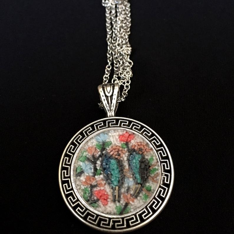 Nightingales Micro Mosaic Necklace 925K Silver Pendant