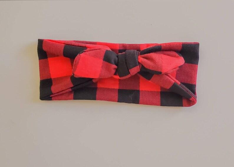 Plaid top knot headband Mommy /& Me Red headband Black headband Red Black Buffalo knot Headband Fall top knot headband Knotted Headband