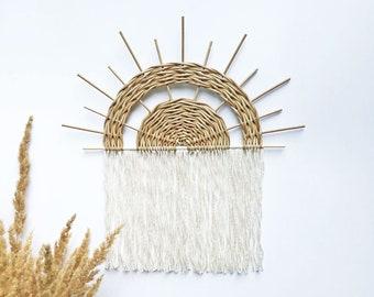 Wall decor yarn, Sun wall hanging, Sunrise woven wall basket, Modern Fiber Art, Fringe Macrame