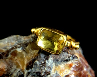 Citrine Yellow Gemstone Silver Ring Jewelry 925 Sterling Silver fair Natural Yellow Ring