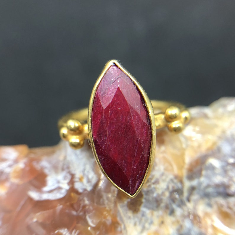 Marquise Cut Ruby Ring 925 K Sterling Silver Handmade Hammered Band Designer Jewelry Ancient natural stone setting