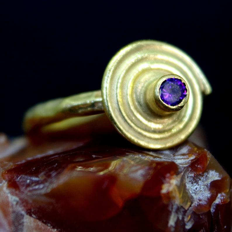Circle Desigh Amethyst Ring 925 K Sterling Silver Handmade HammeredDesigner Statement Ring Dainty Ring Bridesmaid Gift