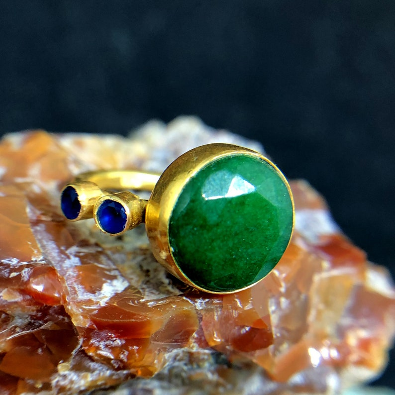Ring With Emerald And Sapphire 925 K Sterling Silver Handmade HammeredDesigner Statement Ring Dainty Ring Bridesmaid Gift