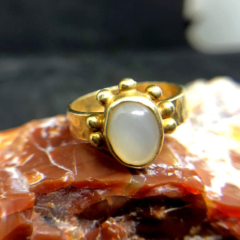 Natural Moonstone Designer Ring 925 K Sterling Silver Handmade Hammered Band Designer Jewelry Ancient