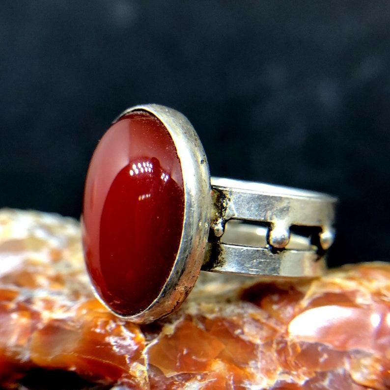 Ancient Style Natural Carnelian Designer Ring 925 K Sterling Silver Handmade HammeredDesigner Statement Ring Dainty Ring Bridesmaid Gift