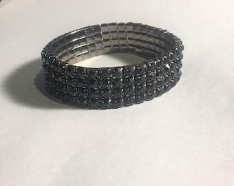 Black Crystal Rhinestone Stretch Bracelet 4 Row / One size fits Most