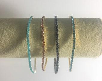 Rhinestone Stretch 1 Row Bracelet,  Sea Blue, Pink, Black , Teal Blue  (PICK COLOR)