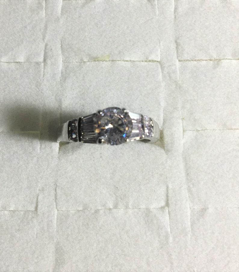 Sparkling Topaz Ring Engagement Ring   White Gold Layered Ring Round White Topaz Engagement Ring Gemstone Ring